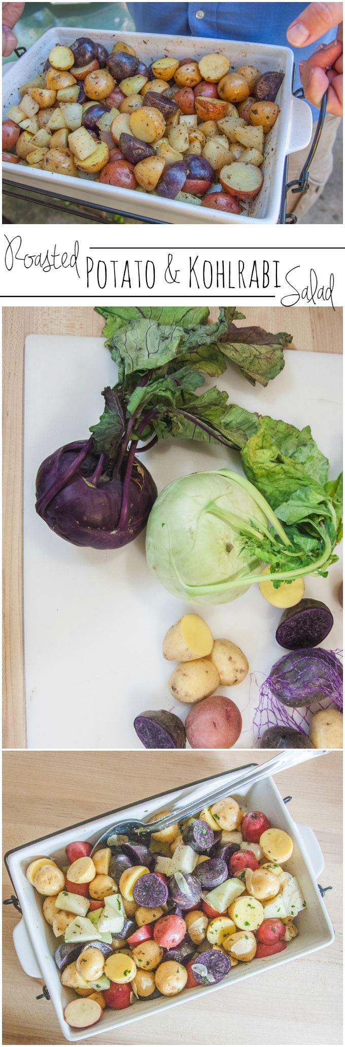 Roasted potato and kohlrabi salad recipe from @sweetphi