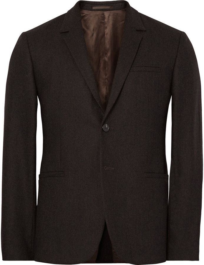 COS Brown Slim-Fit Mélange Wool-Flannel Blazer