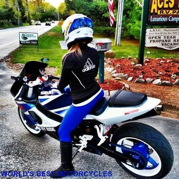 Matching Blue Sport Bike Chick  Women And Bikes -3188