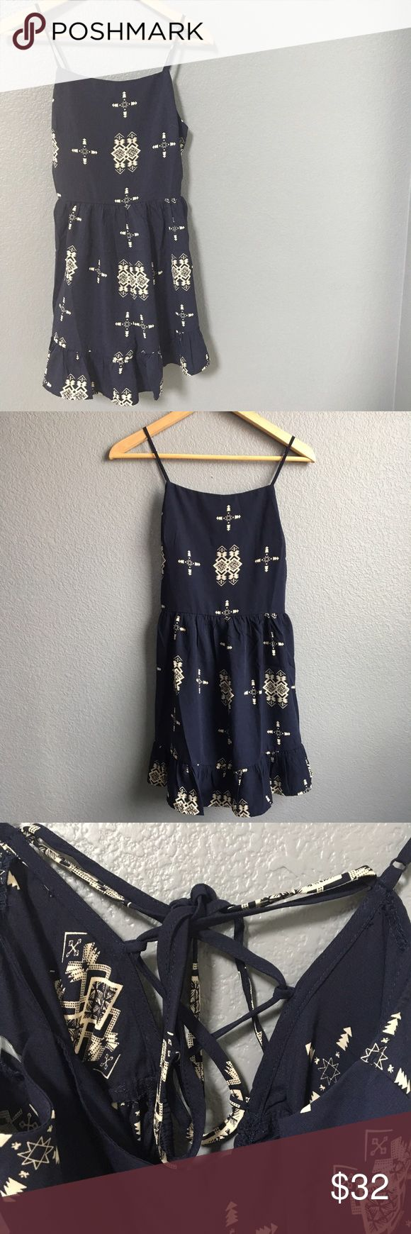 Aztec print romper💙 Super cute  shirt Aztec print bell bottom romper. With open back. Note: boutique item came without retail tags! Pants Jumpsuits & Rompers