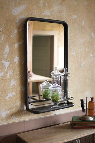 Metal Frame Pharmacy Mirror with Shelf