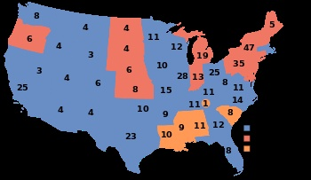 1948, Harry S. Truman (D) - 303 EV / 24,179,347 (49.6%) PV, Thomas E. Dewey (R) - 189 EV / 21,991,292 (45.1%) PV