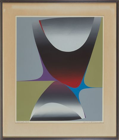 Gunnar S. Gundersen   Forde 1921 - Bærum 1983   Composition in gray and green, 1968   Fargeserigrafi, 38/50. 56x46 cm   Signed and dated lower right: Gunnar S. Gundersen -68