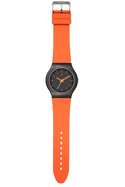 Part of Tees' first colours collection, this watch has orange straps and hands paired with a black case and dial.