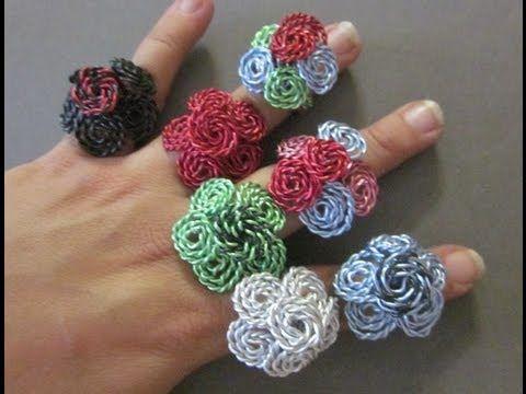ANILLOS DE ALAMBRE EN FORMA DE FLOR (wire flower ring - Spanish_