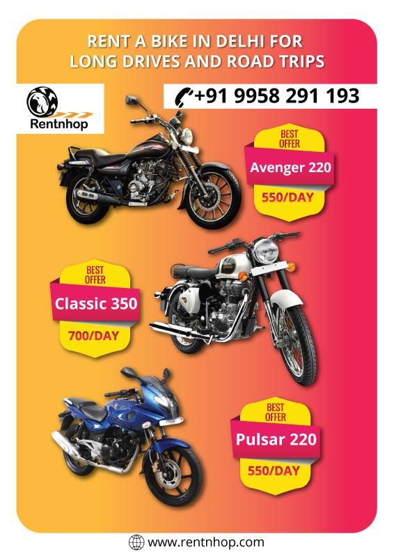 Rentnhop Is One Of The Best Place For Bike Rental In Delhi Rent