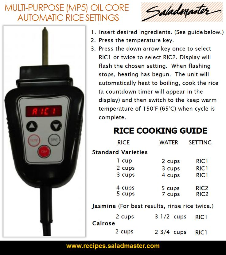 Rice Cooking Guide | Automatic Rice Settings for Saladmaster Multi-Purpose (MP5)…