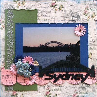 Sydney page created with FabScraps, Love 2 Travel collection by Teena Hopkins for My Scrappin' Shop.