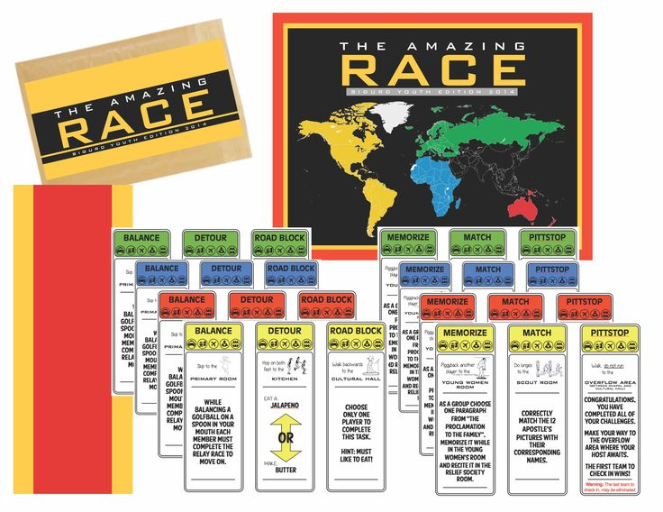 This Amazing Race Game is a perfect Young Men & Young Women Activity! All the work is done for you just print and away you go!