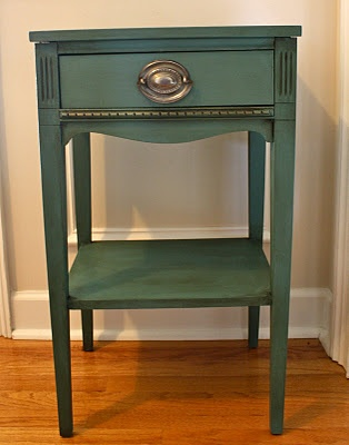 Annie Sloan Chalk Paint Aubusson Blue and Antibes Green in the ratio of 3:1. I followed up with clear wax and dark wax in areas with a touch of gilding wax on the front decorative molding.