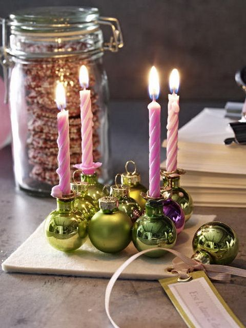 Ornament candle holders....really cute! I'm going to try this next Christmas. Great gift idea!
