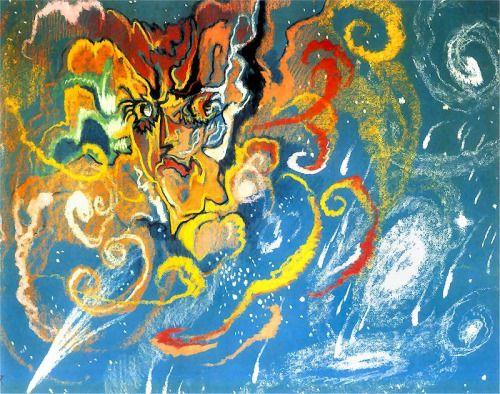 """dappledwithshadow: """"Nova Aurigae Stanislaw Ignacy Witkiewicz 1918 Drawing - pastel """""""