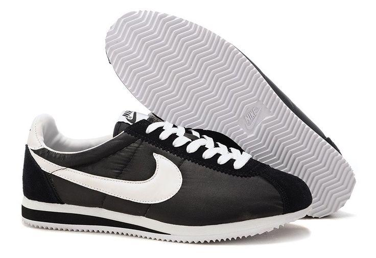 All Black Nike Shoes | Nike Classic Cortez Basic Nylon Men and Women Shoes Black and White ...