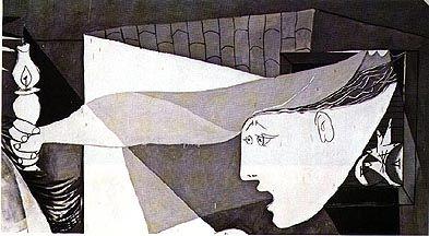 Pablo Picasso -  Guernica détails Vooraan het schilderij is een man met een kapot zwaard afgebeeld. Een symbool voor een dode soldaat.
