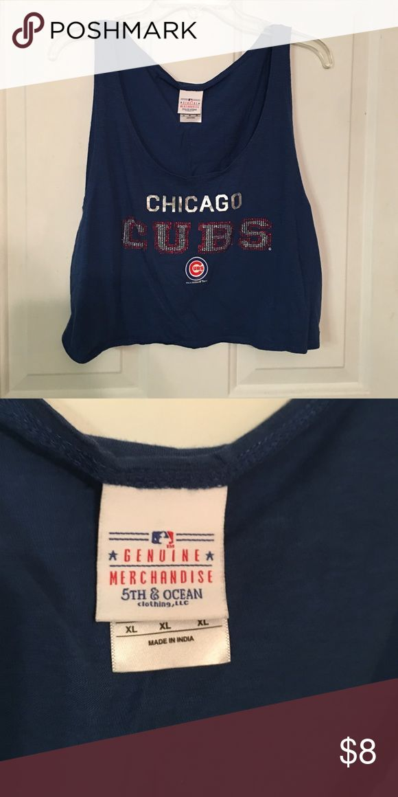 Cubs Sparkly Crop Top Rhinestoned Chicago Cubs crop top. XL but fits great for petite too. Flowy and cute. Tops Crop Tops