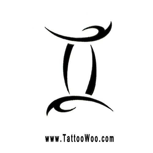 Gemini Symbol Tattoo Design Tribal Zodiac Star Sign