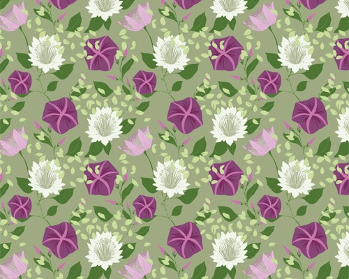 Moa pattern in green inspired by the colours and swirling shapes of Morning glory.  www.formstigen2a.se/pattern