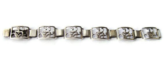 Vintage Danish 830 silver panel link bracelet, I B Jensen of Copenhagen, 1920s, openwork deer design, Art Deco, Scandinavian silver. #254.