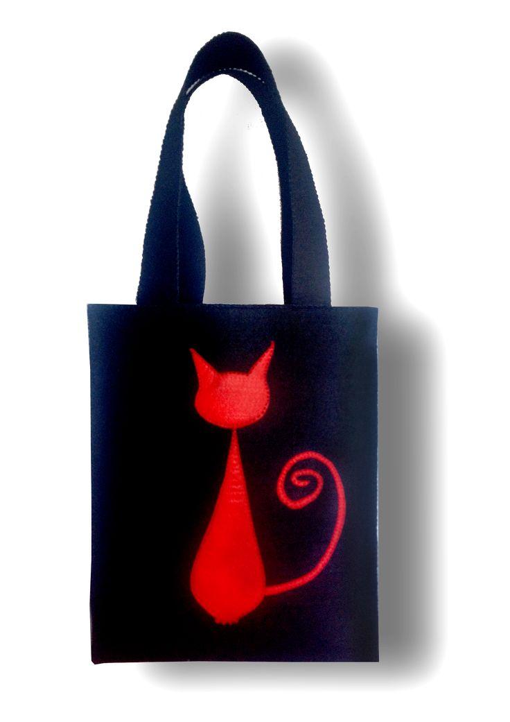 cady felt - tamamen el yapımı kedi figürlü keçe çanta