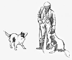 Farmer with dogs, black-and-white line drawing