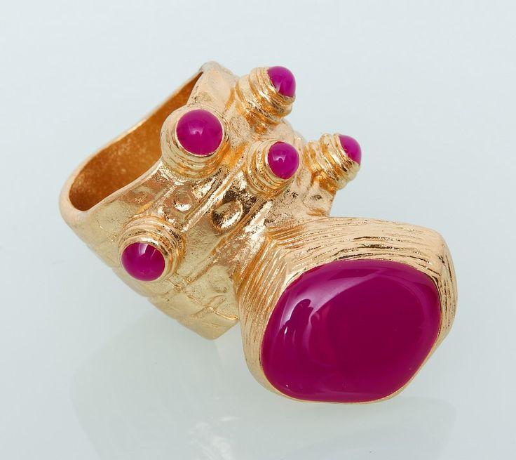 Кольцо YSL Yves Saint Laurent золото с сереневым #19021