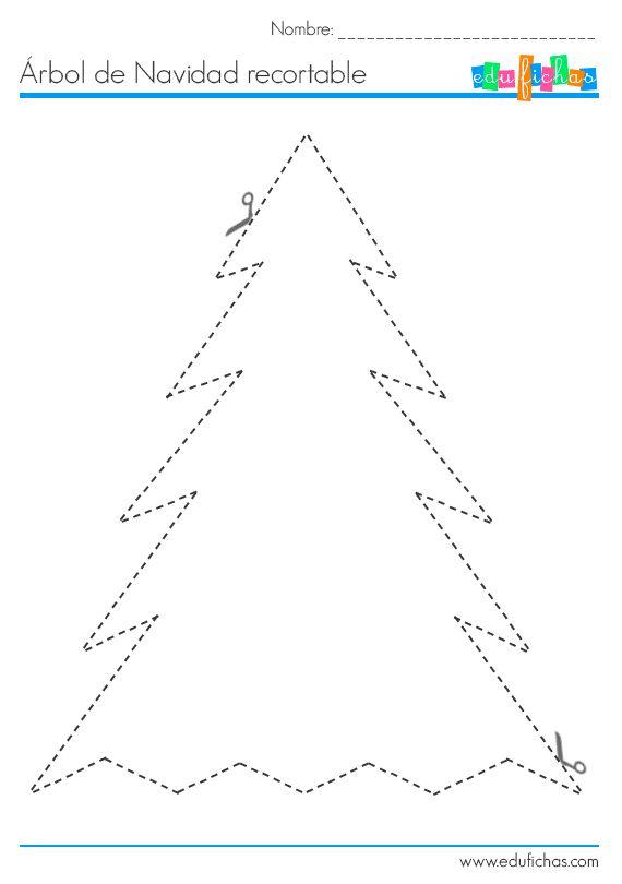 Manualidades de navidad. Esta actividad se compone de dos fichas, con un árbol de navidad recortable para collage, y adornor recortables para pegar. Navidad