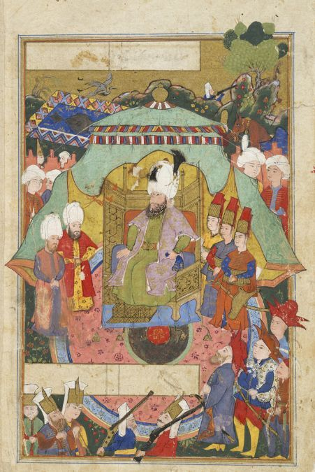 Enthronment of Sultan Mehmet III, Unfinished folio from an illustrated manuscript