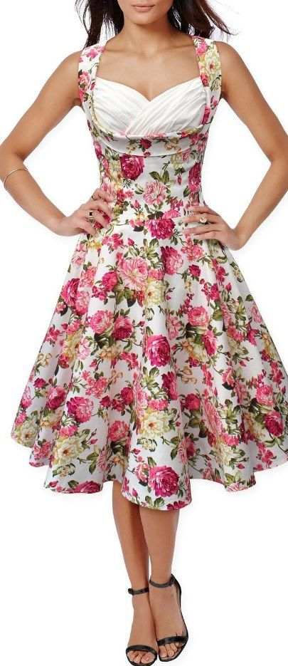 50s 60s Vintage Floral Print Divinity Rockabilly Swing Retro Dresses Pin Up White