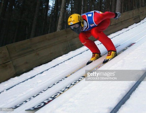 Tami Kiuru from Finland slides down for his first jump 20 December 2003 in Engelberg during the 7th competition of the 5th World Cup SkiJumping AFP...
