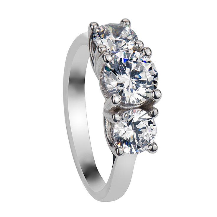 Swarovski Engagement Rings - NICOLA Three Round Cut Settings Engagement Ring with Polished Finish - LarsonJewelers.com