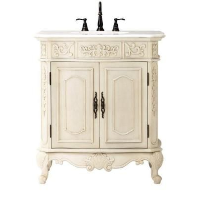 Home Decorators Collection Winslow 33 In Vanity In Antique White With Marble Vanity Top In