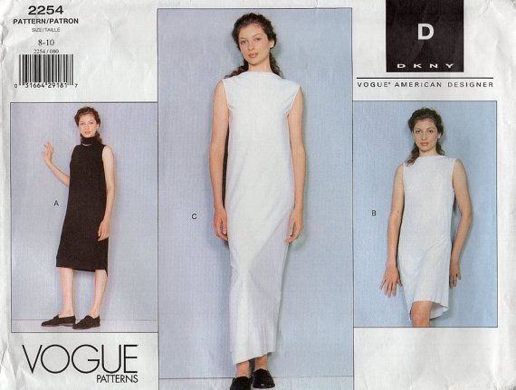 Free Us Ship Vogue 2254 DKNY Bias Dress Evening Length 1999 Retro 1990s 90's Size 8 10 Bust 31.5 32.5  Sewing Pattern New Out of Print