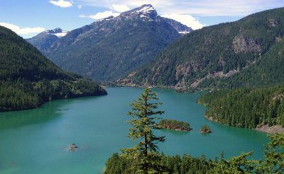 Diablo Lake along the Northern Cascades Highway has directions and stops to make