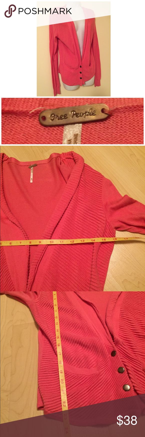 FREE PEOPLE Coral Cardigan Small Excellent condition gently worn with no defects. Coral red / orange. Ribbed textured front and flat back. Free People Sweaters Cardigans