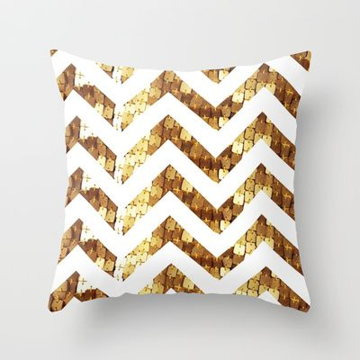 Gold Sequin Chevron Throw Pillow by elecat - $20.00 For the couch (contrast blue rug)