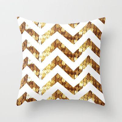 Gold Sequin Chevron Throw Pillow by Elecat Chevron Throw Pillows, Gold Sequins and Throw Pillows