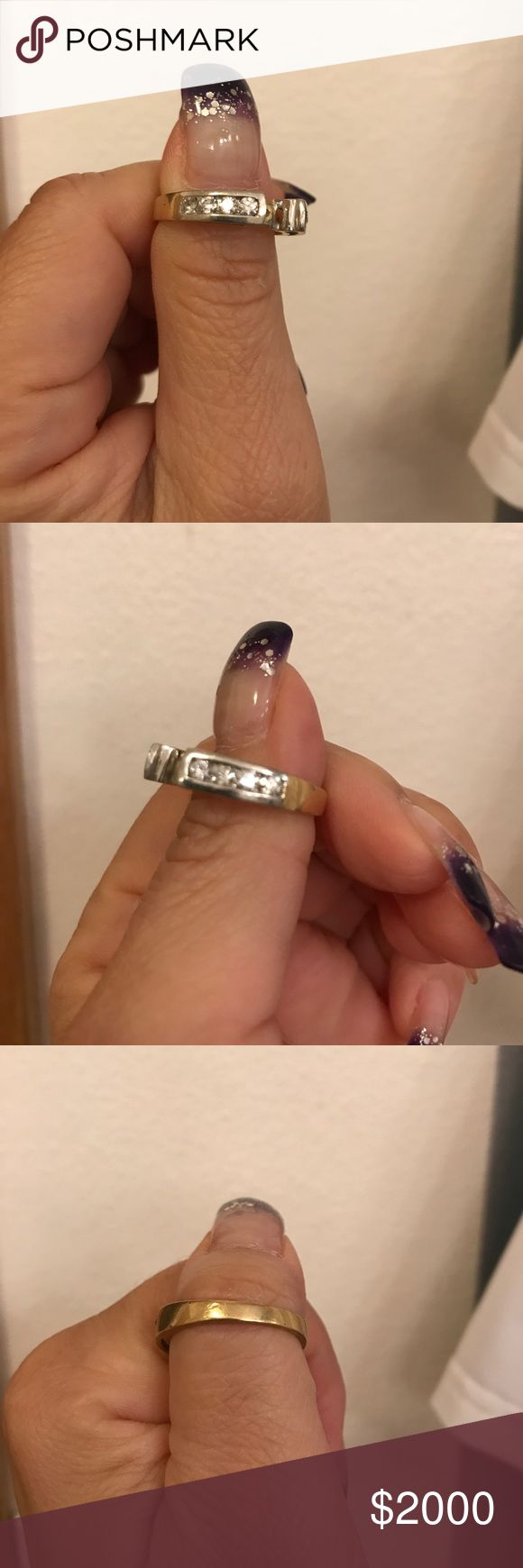 🔥🔥FLASH SALE🔥🔥Lovingly used wedding ring set No. You are not seeing double. Band is yellow 14k Gold. Sides holding YOUR STONE is white 14k gold. Sized 8 or 8.5. I lost weight so I transferred back to a 6.5. Waiting for a diamond to make its home here. ❤️ FLAWLESS COLORLESS DIAMONDS ON SIDE. TOTAL WEIGHT APPROX. 1 carat. Zales Jewelry Rings