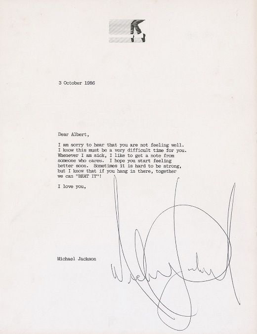 Get well soon-letter from Michael Jackson - 1986