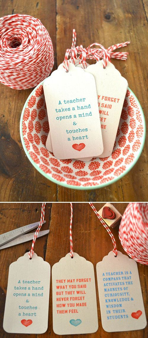 Teacher Gift Tags - so sweet (Art Bar Blog)