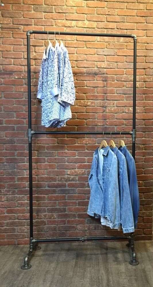Clothing Rack Heavy Duty Double Row Industrial Pipe Rack Garment Pipe Rack Black #WilliamRobertsVintage