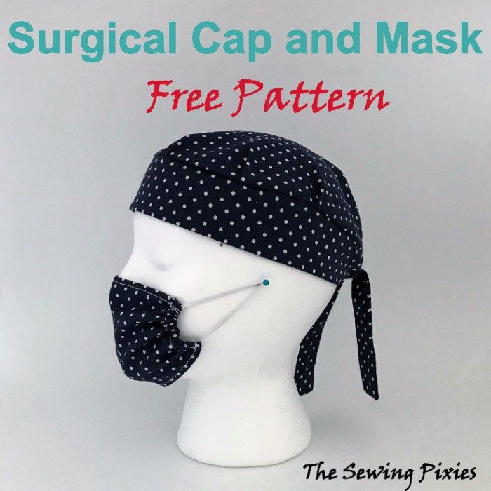 Surgical Cap And Mask Pretend Play Free Pattern Scrub Hat