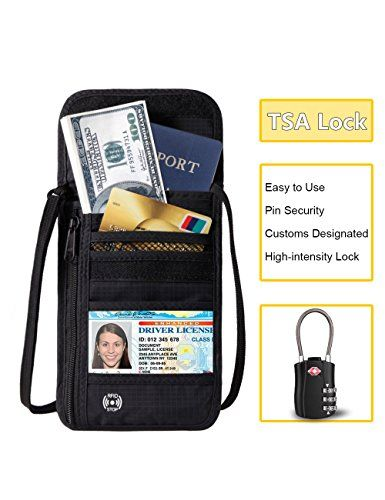 Travel Wallet Neck Passport Holder RFID Blocking Accessories Hidden Pouch with TSA Luggage Lock  RFID BLOCKING----The travel wallet lined with high-tech nano-metal shielding material to block the outside RF signal to prevent the credit card from short distance wireless scanning, ensuring that your chips of cards and passport information are not being illegal stole and copied by remote electronic device, effectively prevent important confidential information of cards or others from leak...