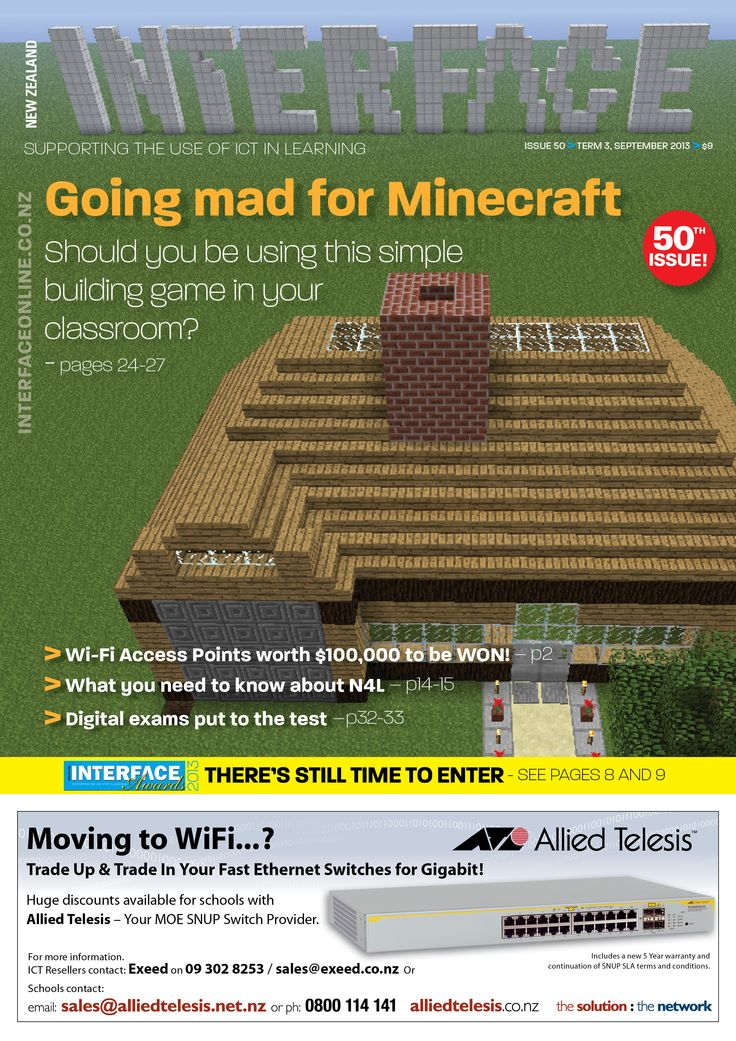 Cover image from Issue 50, Sept 2013. Minecraft scene designed by Cameron Adams.