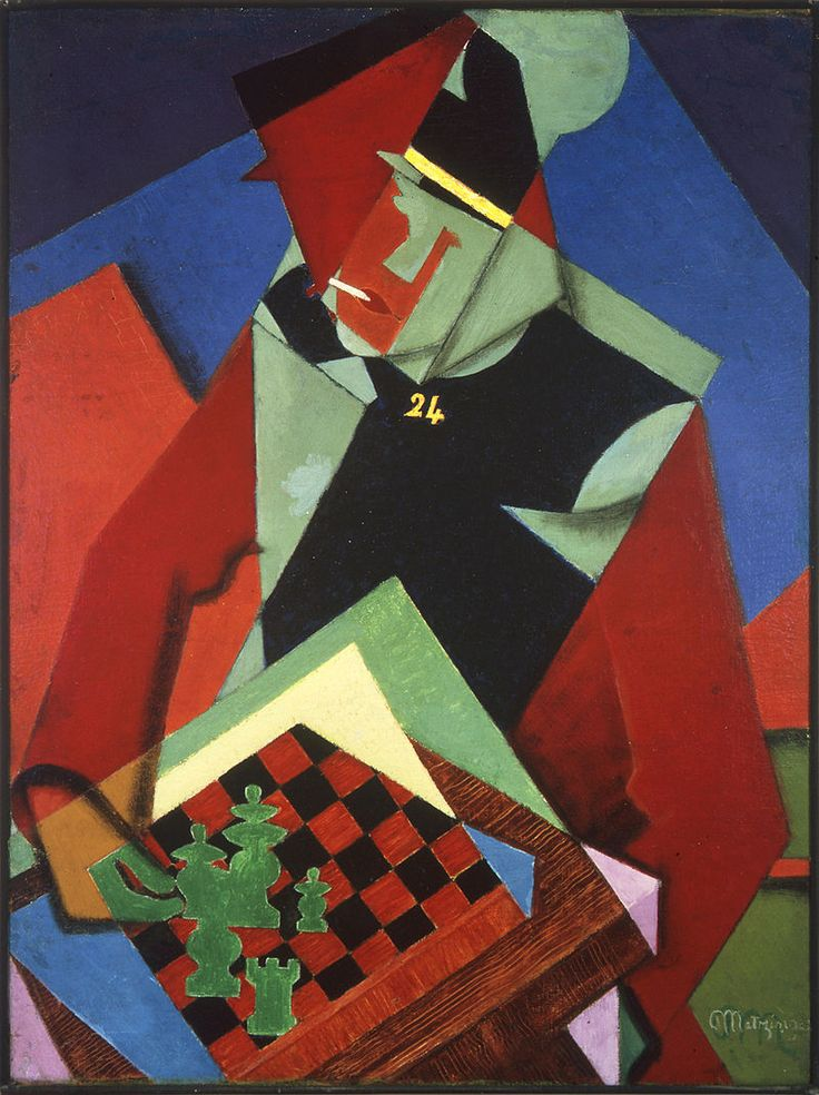 Jean Metzinger, 1915, Soldat jouant aux échecs (Soldier at a Game of Chess), oil on canvas, 81.3 x 61 cm, Smart Museum of Art - Jean Metzinger - Wikipedia, the free encyclopedia