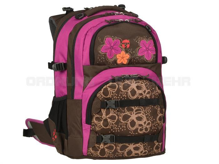 Take it Easy CUT FLOWER - Schulrucksack OSLO Ergo FLEX Schulranzen DER NEUE - braun pink