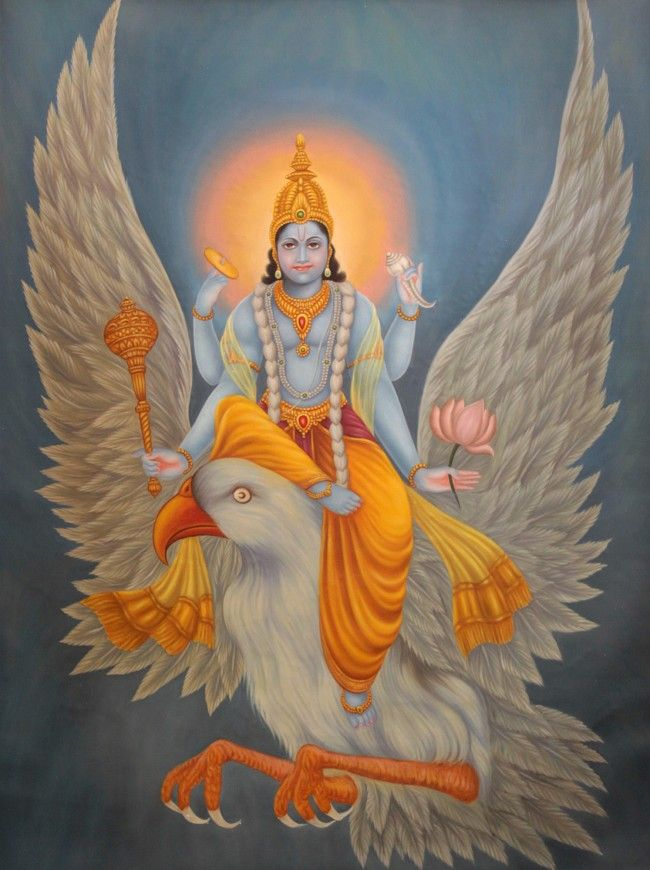 The blue-bodied figure of Lord Vishnu carrying his favourite disc, conch, mace and lotus. And wearing a garland of blue lotuses. Now you know where the phrase lotus-eaters' originates from?