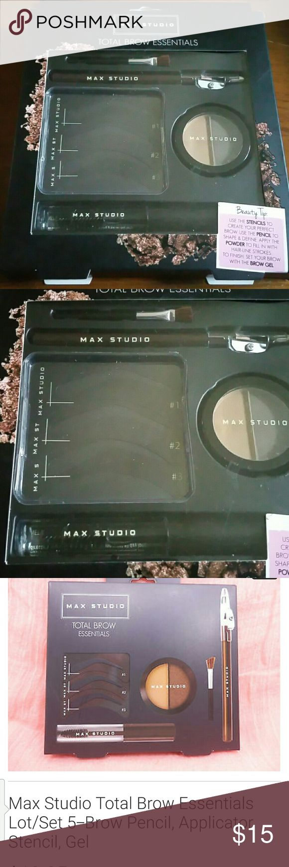 Total brow essential Duo brow shadow brow gel brow pencil brow stencils brow brush Max Studio Makeup Brushes & Tools