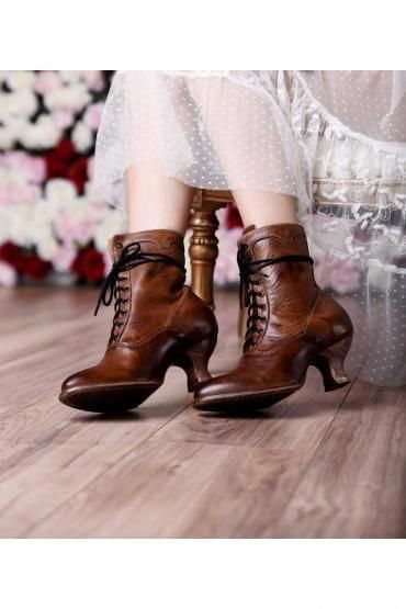 Victorian Inspired Ankle Boots in Tan Rustic – SOLD OUT