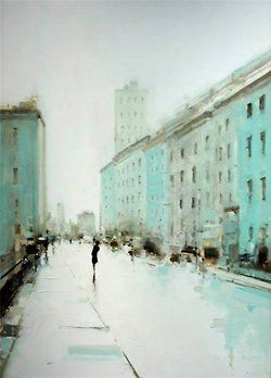 Geoffrey Johnson- City Buildings Green, 2013. Oil on wood panel (more)