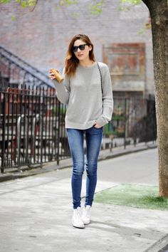 LE FASHION BLOG MUST HAVE WHITE HIGH TOP CONVERSE SNEAKERS MARIE CLAIRE KOREA MODEL SARAH FRIGO GREY GRAY TEXTURED KNIT SWEATER SKINNY JEANS...